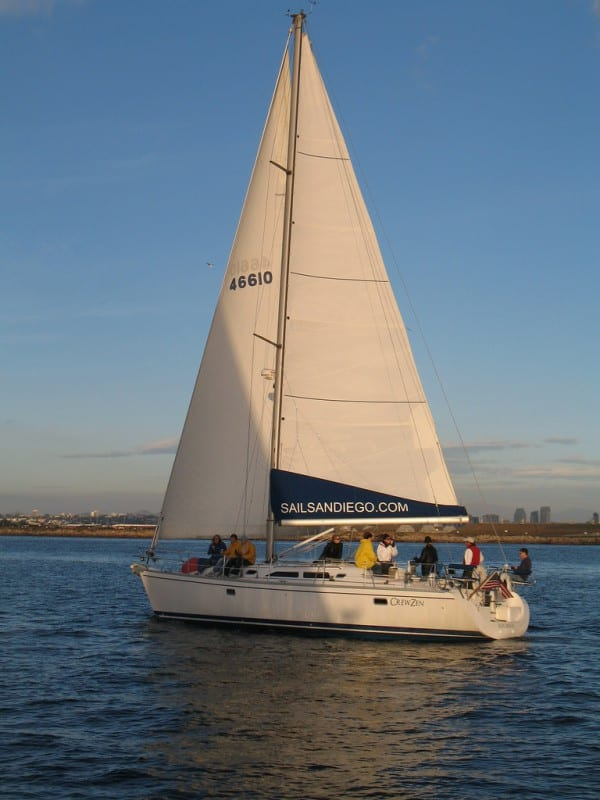 BreeZen sailing at sunset