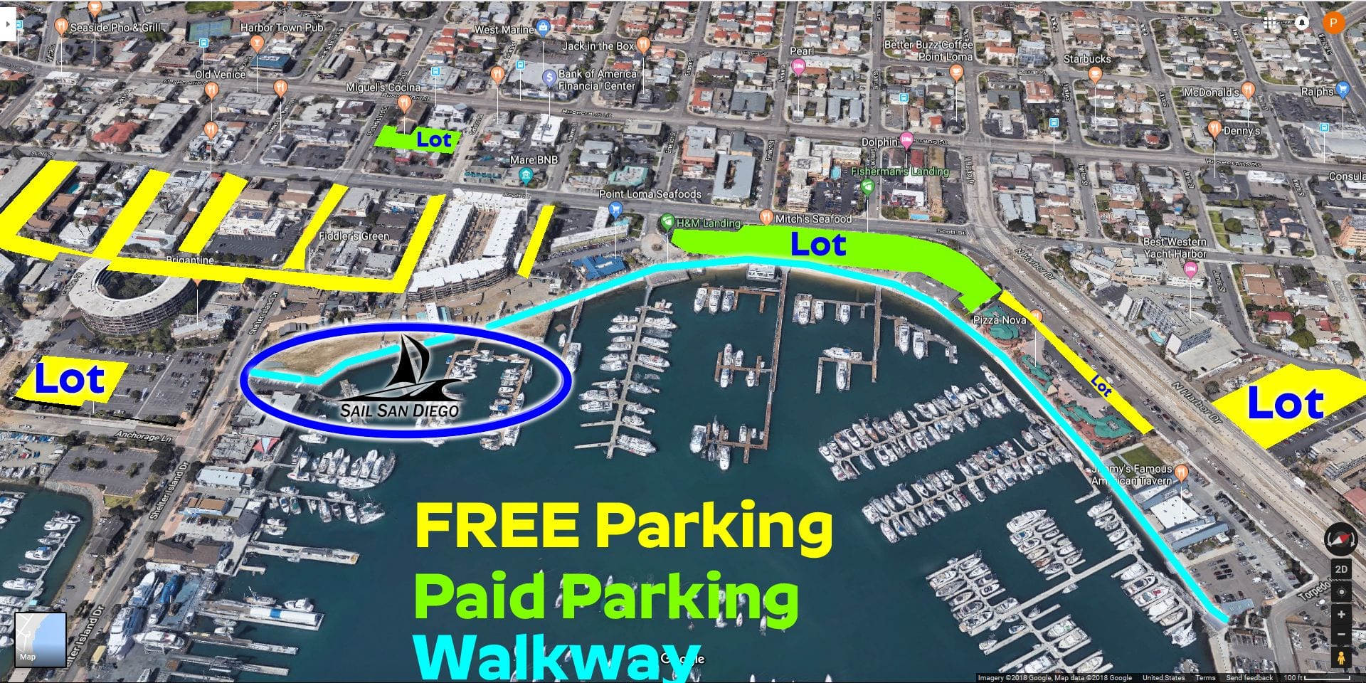 parking locations for sail san diego